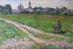 Боголюбово.-В.-Полотнов-за-работой-2011-г.-60х100-холст-масло